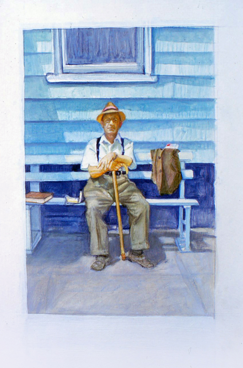 5ds(0) - Acclaim of Bench and Cane #3 (Vignettes) - gouache on paper, 7x5 in., 1983.jpg