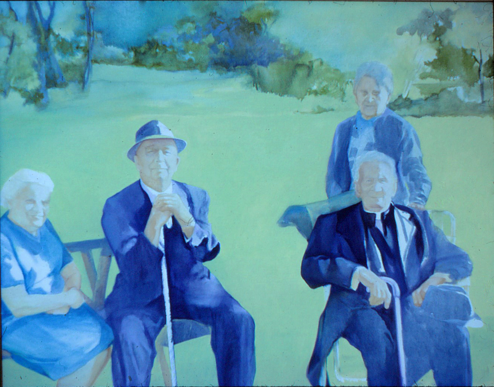 5dt(0) - Remembrance of a Family Outing- pencil, oil on canvas, 48x60 in., 1980.jpg