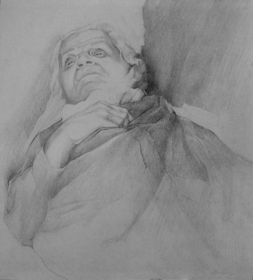 5du(0) - Grandmother's Specter, pencil on paper, 18x18 in., 1979.jpg