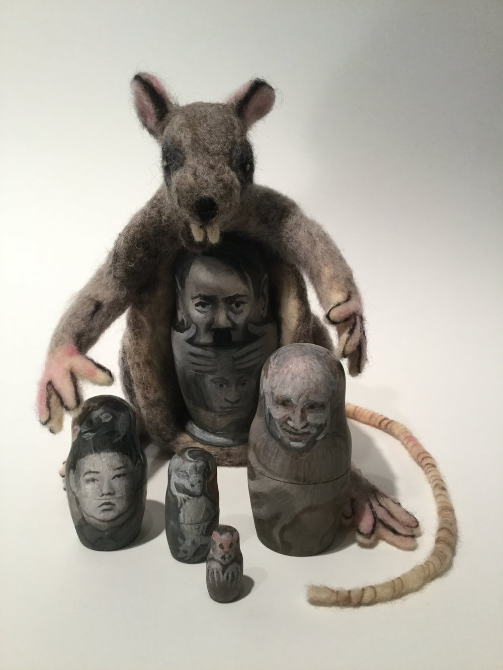 (B)rats -felted rat, 5 wood nesting dolls painted w oil, mm 5x4x3x in. 2017 - (P).JPG