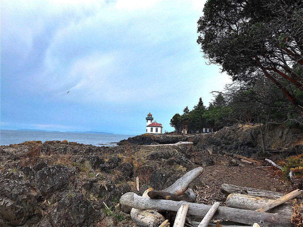 Hike a quarter mile to the Lime Kiln Lighthouse
