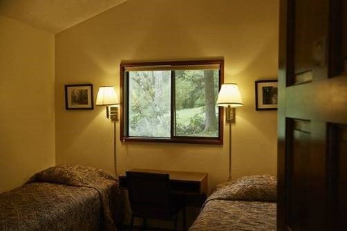 Each attendee has their own room (with two beds) in the lodge…