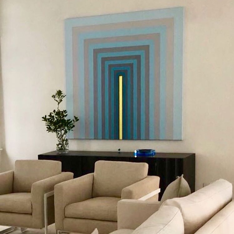 "A larger version. PIQUE MB+TW+CT+PY, at 60""x60"", looks stunning in its new home in Florida. Many thanks to  Dimmitt Contemporary Art  and  Katie Scott Design  for entrusting me with this commission."