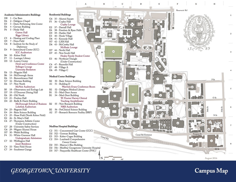 Georgetown University Campus Map | Prasnebarve