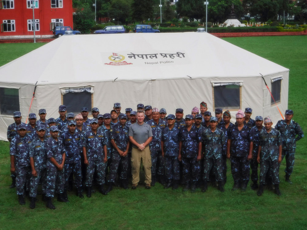Western Shelter Sales Representative Mike Ottaway assisting with shelter deployemnts in Nepal.