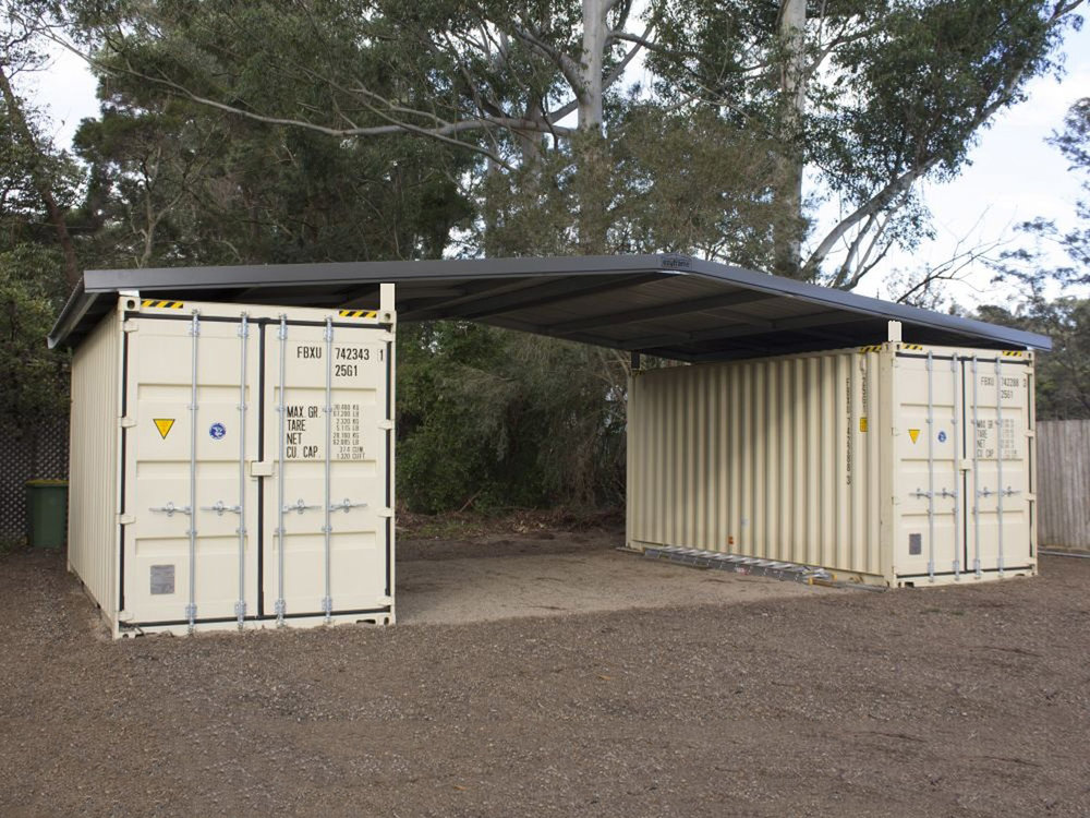Container roofs western shelter for Dimension box garage