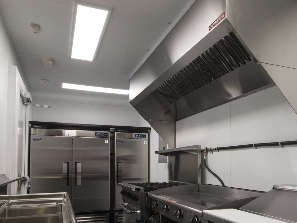 Western Shelter Mobile Container Kitchen Hood system, Cooler, Freezer