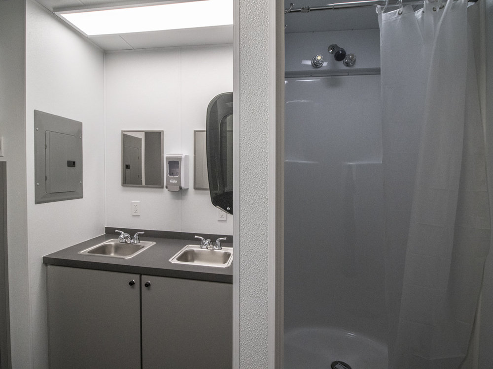 Western Shelter Mobile Container bathroom sink and shower