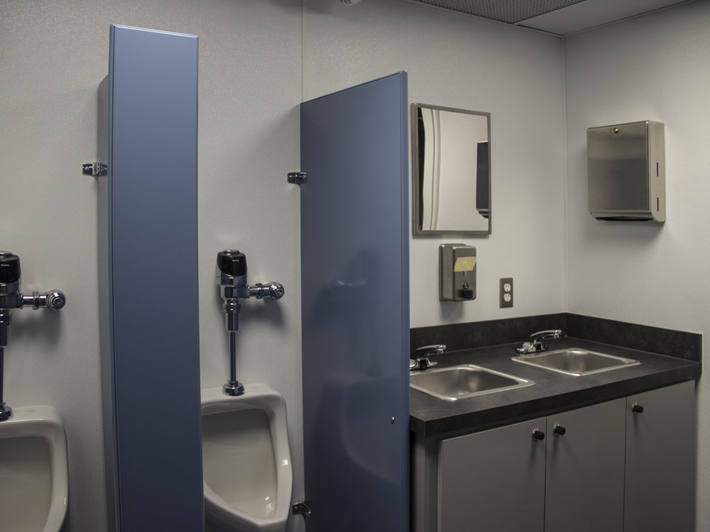 Western Shelter Mobile Container bathroom urinal and sink