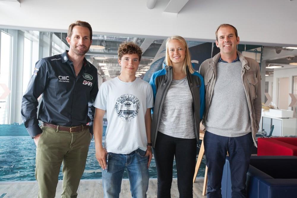 Magnus Olsson Scholarship recipients Lovisa and Emil visiting LandRoverBAR America's Cup Team. @LandRoverBAR Photos by Harry KH/LandRoverBAR
