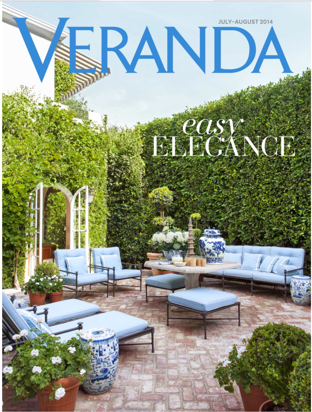 Marks patio graces the cover of Veranda magazine.  Photo - Roger Davies