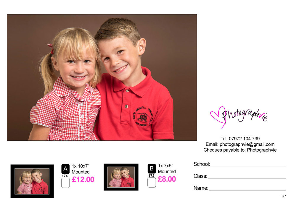 School photography - Group photo prices - Sample proof card for siblings, class photos and school photos.