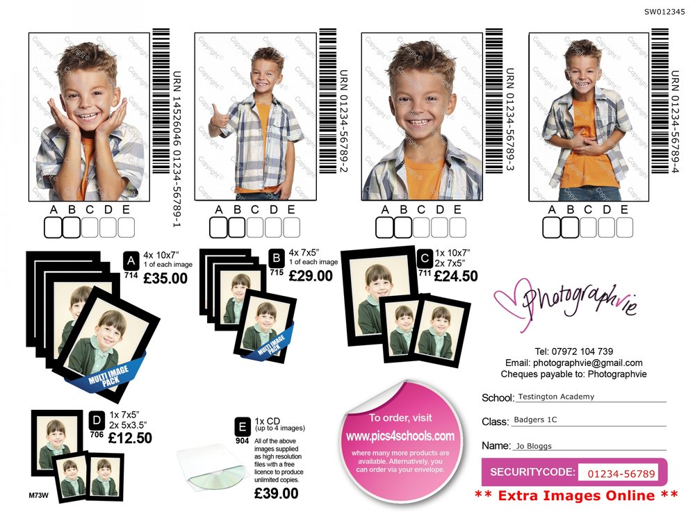 School photography - Individual portrait prices - Sample proof card for individual portraits of the children - our most popular choice with parents and schools, a choice of 4 portraits, various print packages and images on disc and the option to order online.