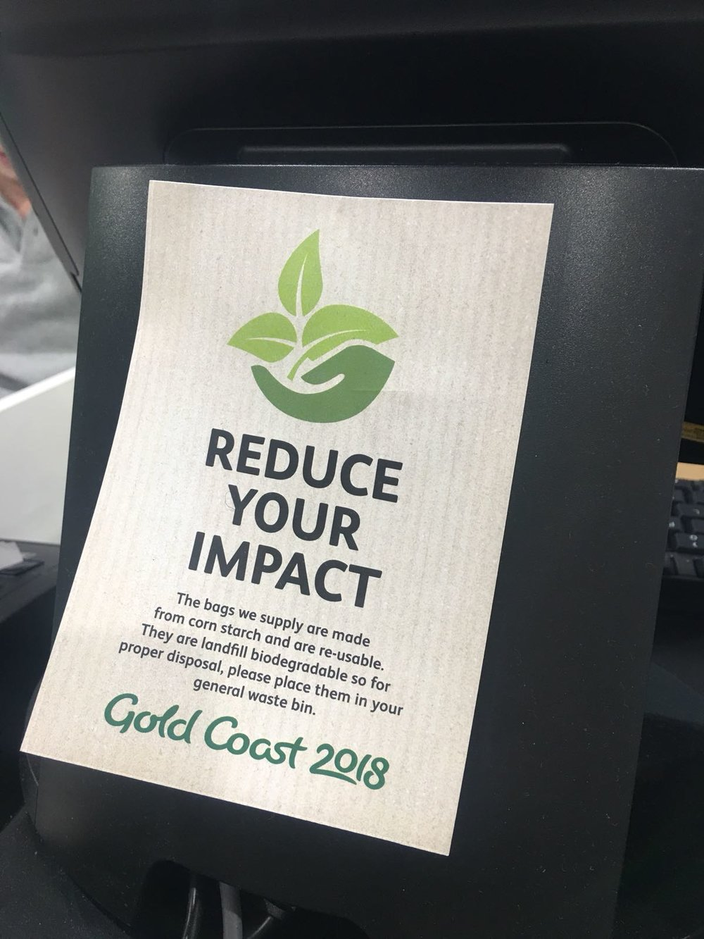Biodegradable, re-usable bags on offer to attendees at the Gold Coast Commonwealth Games 2018.