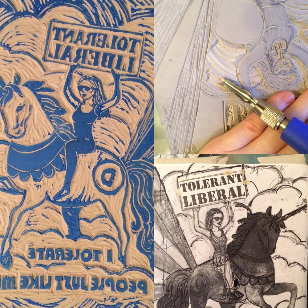 "Drawing, cutting, and inking stages of my  ""Liberal"" Democrat poster  from my  ""Red State, Blue City"" series ."