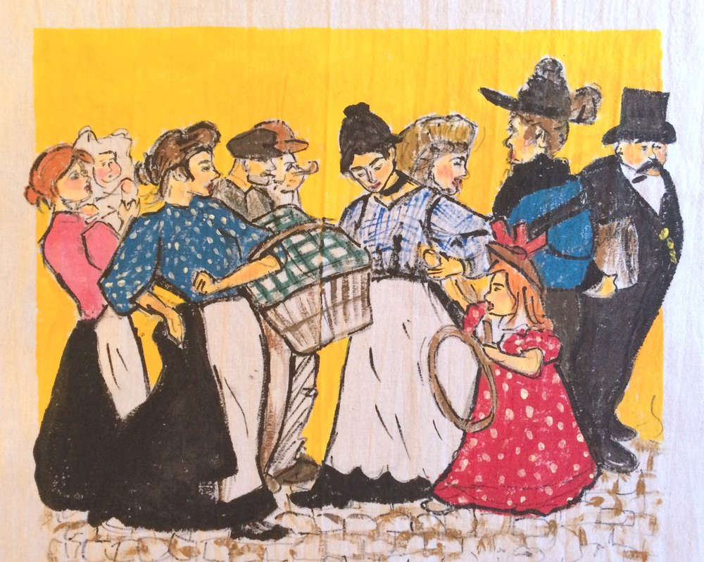 My finished tea towel version of Steinlen's work, free-handed and then painted with acrylic paint and textile medium.
