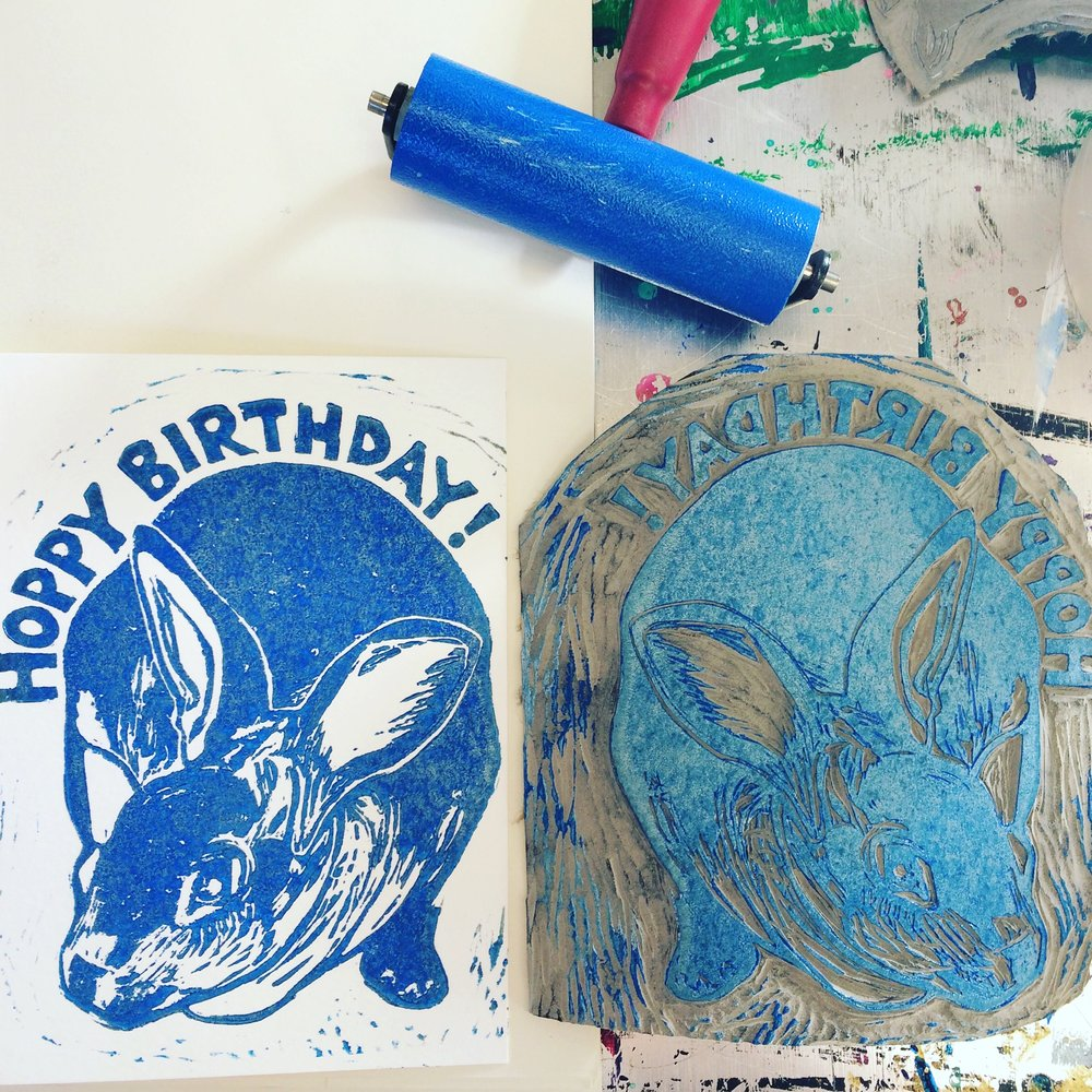 Hoppy Birthday Bunny card hand printed from original linocut.