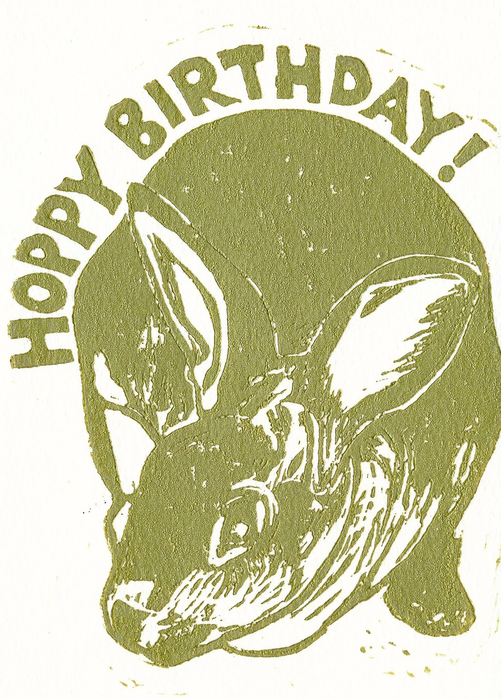 Hoppy Birthday Bunny card hand printed in gold metallic ink.