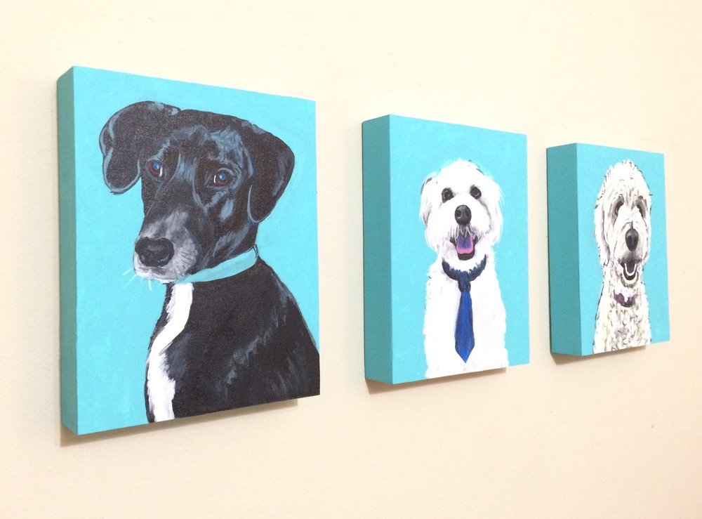 "Custom 8"" X 10"" pet portraits by Ink Original Art mounted to wooden blocks and ready to hang."