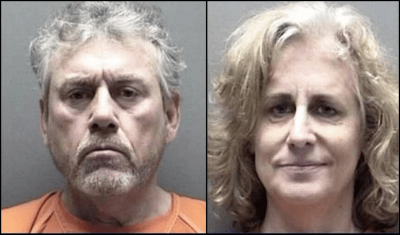 mugshot of Robert Ussery aka Side Thorn and Jodi Mann aka Conspiracy Grannie