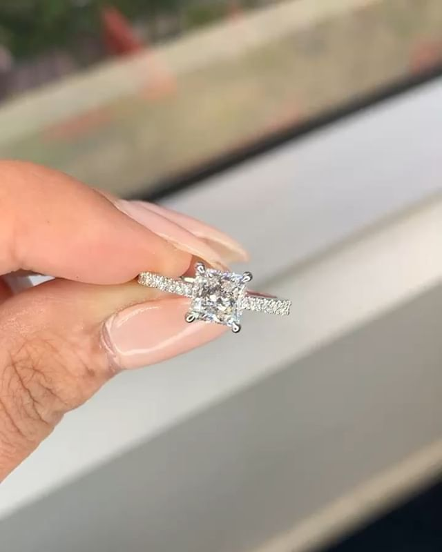 Congrats #JeffreyAndBao on your engagement! Jeff picked a beautiful 1.5 princess cut F / VS2 set in a cathedral pave set ring. Welcome to @janvier_la family ♥️ 💎 ♥️