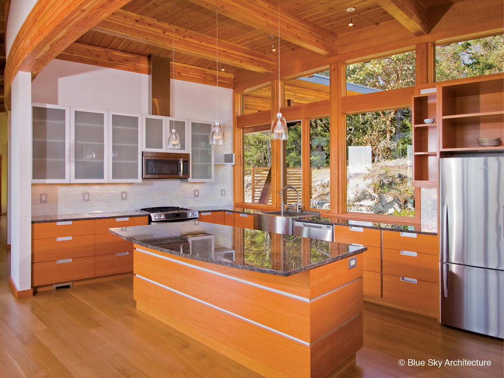 Wood and beam construction kitchen in open concept house