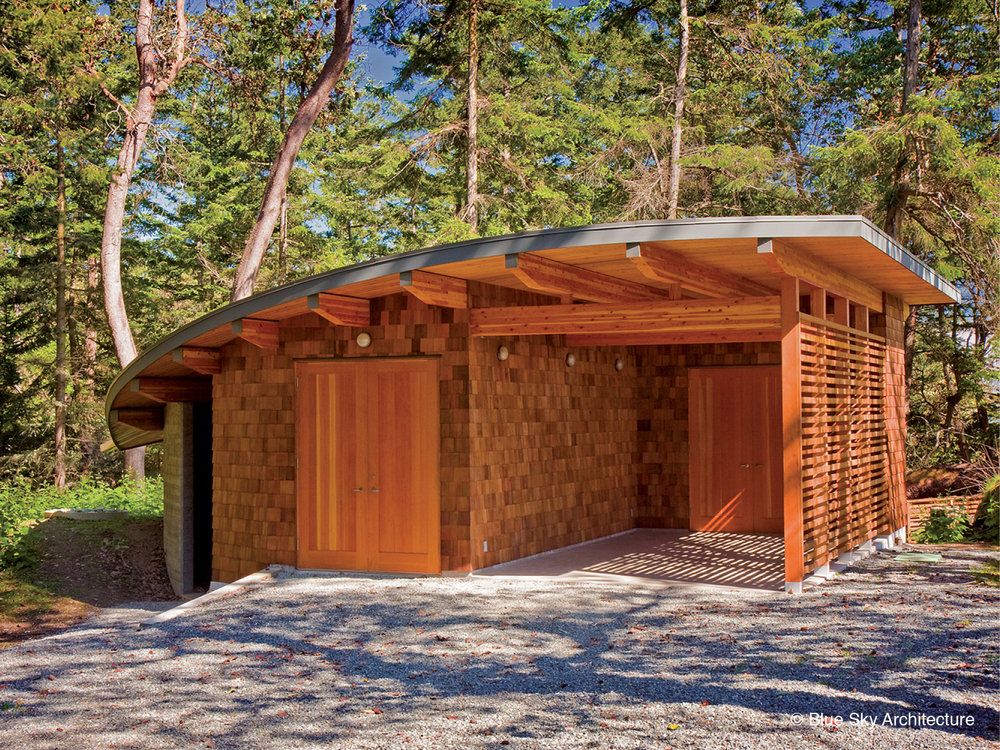 Covered entryway for off-grid home design