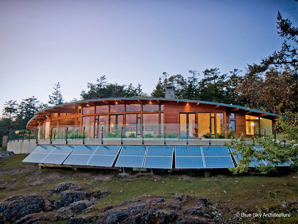 Solar panels on off-grid home design