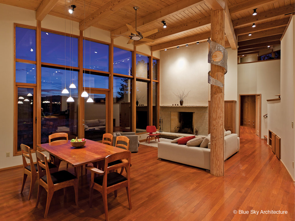 Living and Dining room with Natural Log Column