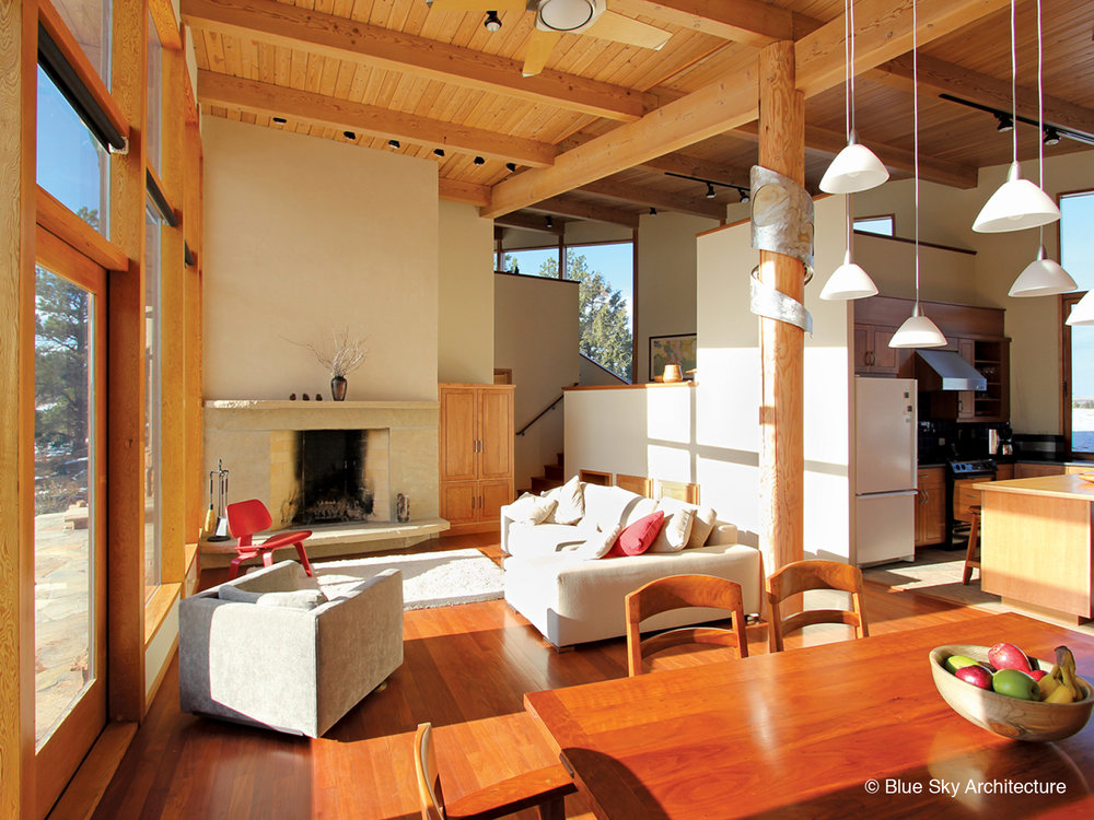 Living Room with Rafters and Fir Decking Ceiling
