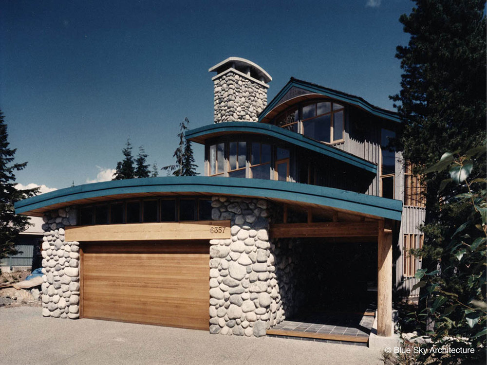 Exterior of the Collins House with Stone Cladding