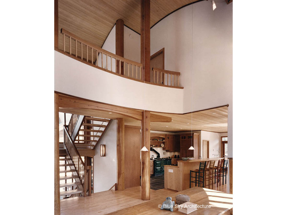 Interior Mezzanine with Wood Balustrade