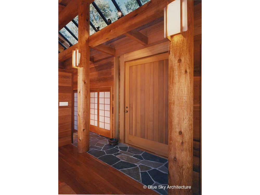 Heavy Timber Construction with Fir Frame and Panel Door