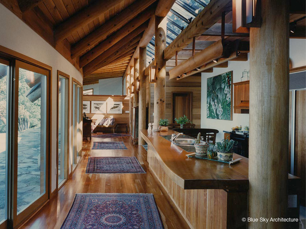 Open Floor Plan Kitchen with Natural Log Rafters