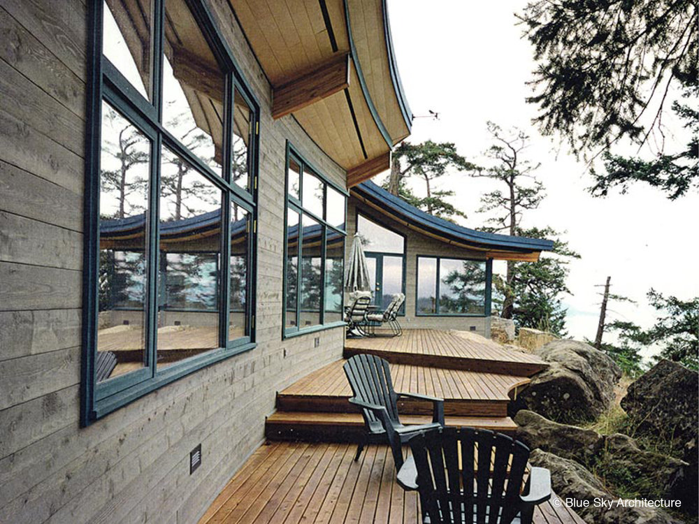 Exterior Terrace with Cedar Cladding and Ocean View