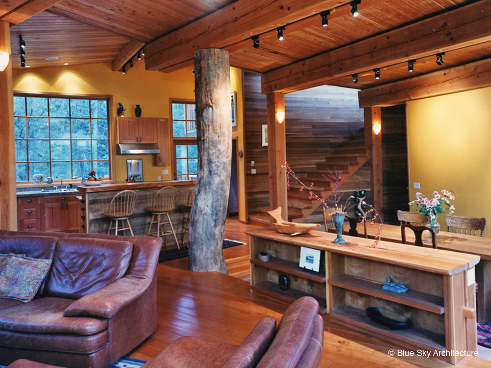 Interior Design with natural wood and natural log columns