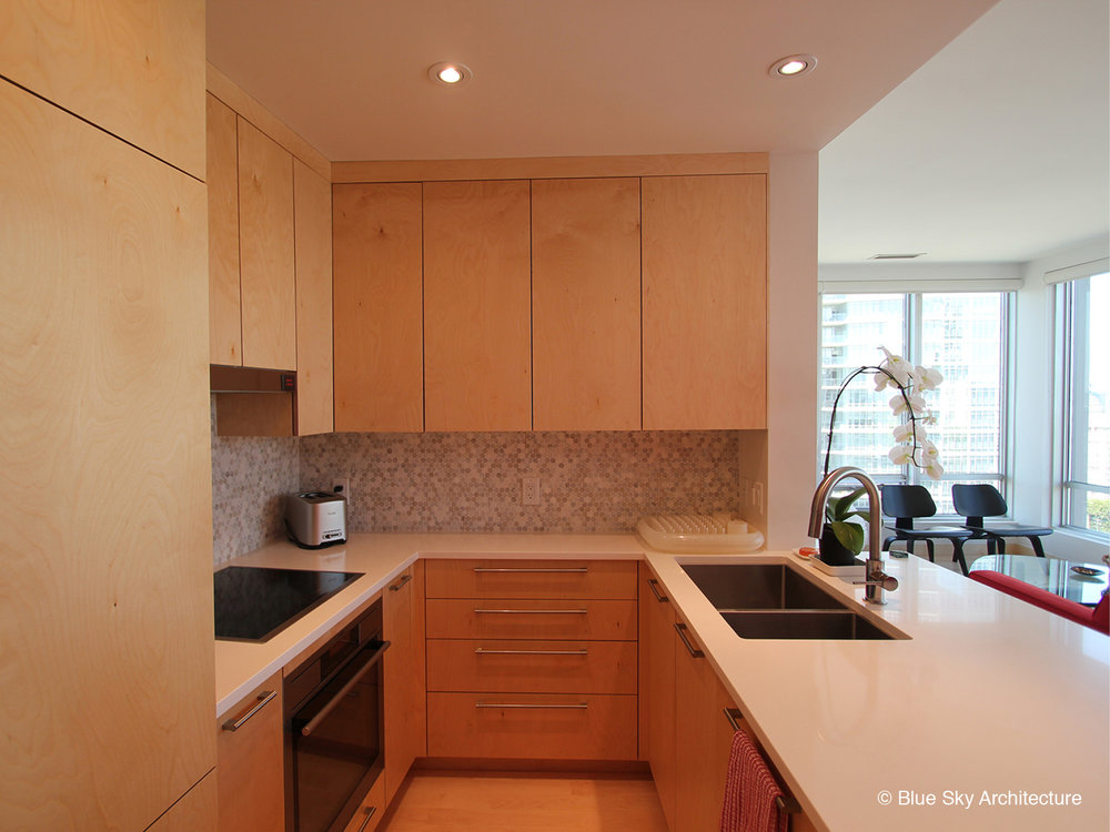 Birch plywood cabinet kitchen in Vancouver condo