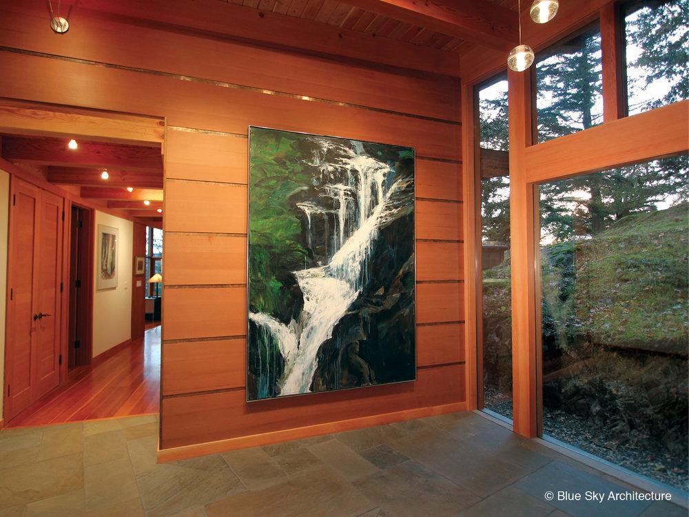 Oak Grove House entrance gallery with cedar wall and bluestone floors