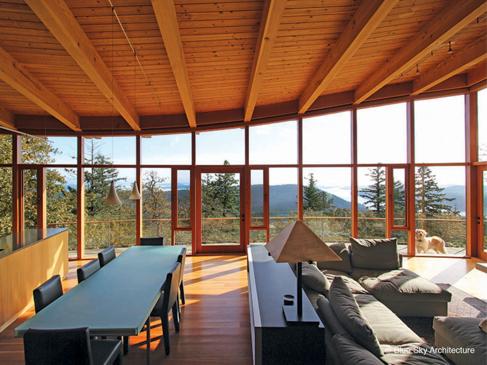 Oak Grove house post and beam with wood window framing