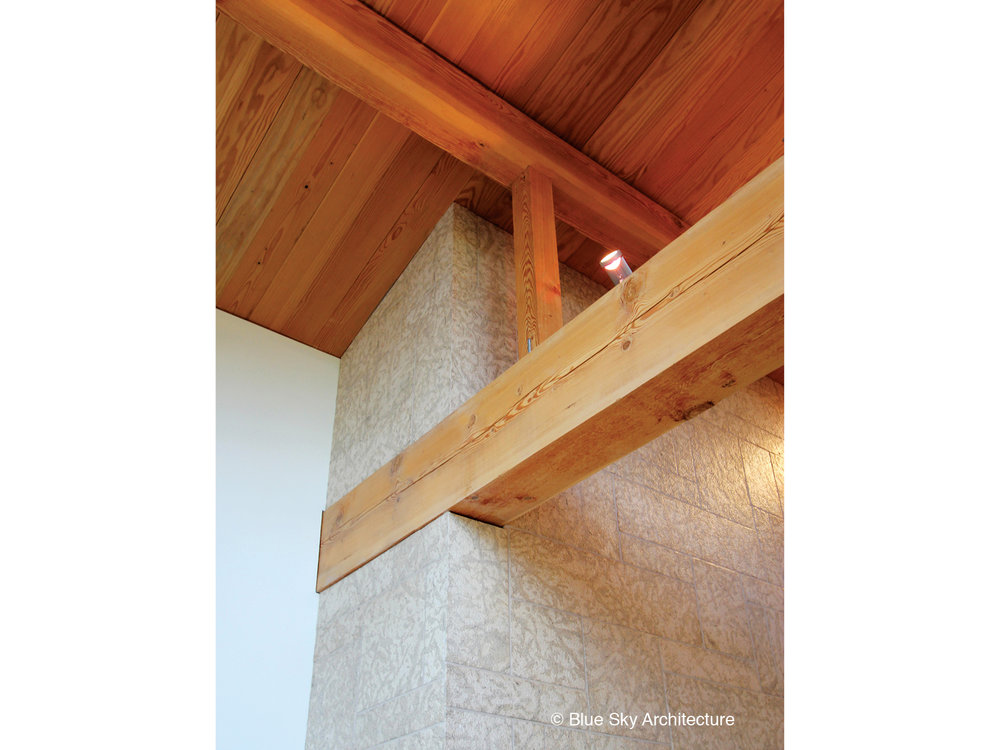 Close up of the post and beam detailing in the Assiniboine River House