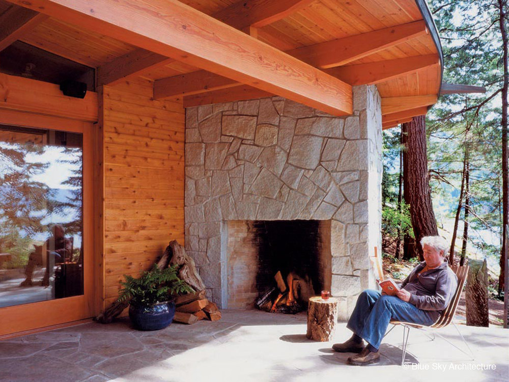 Outdoor fireplace of the Deer Path House