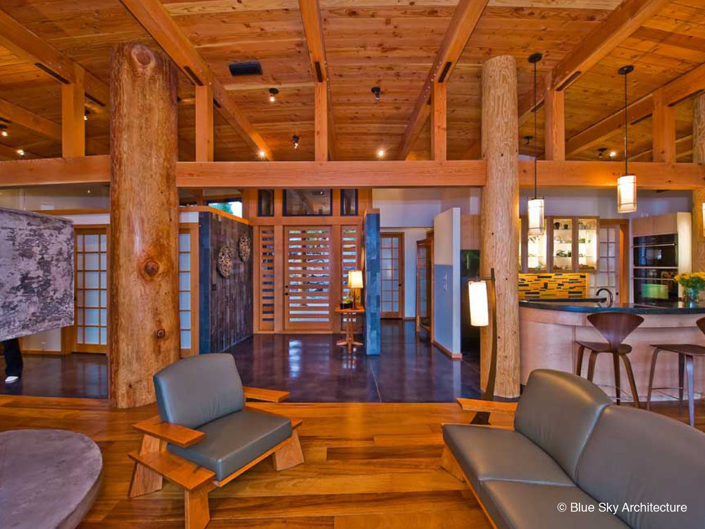 Heavy timber, west coast modern living room in Ucluelet House