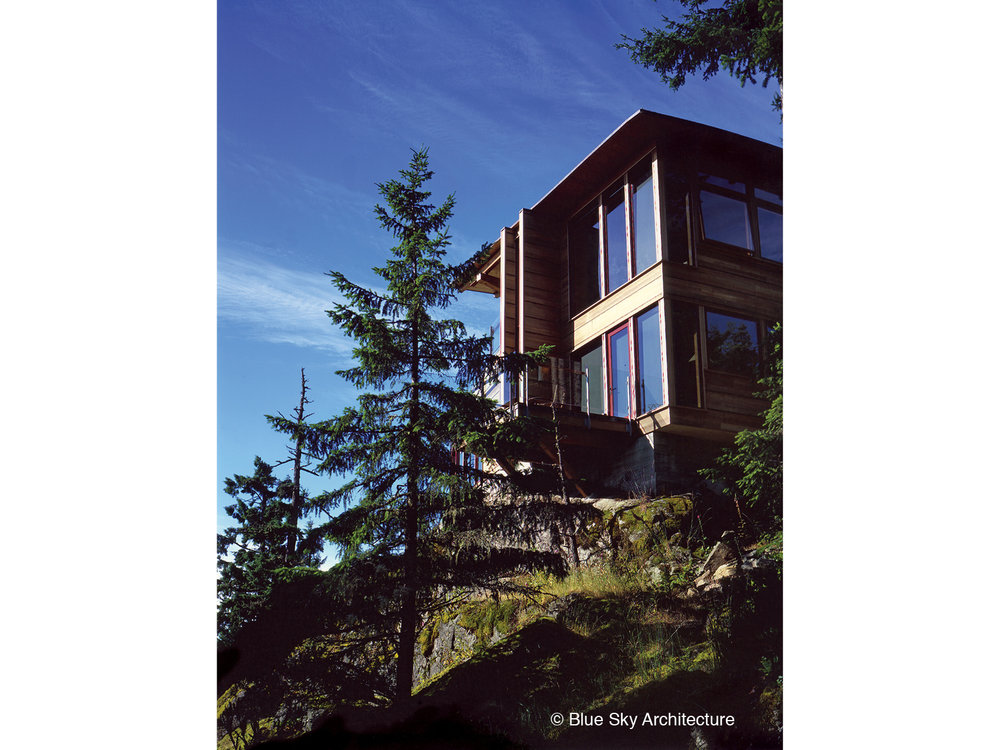 West Coast modern wood framing exterior view