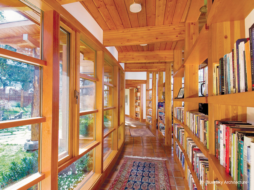 Built-in hallway library in Booklovers House