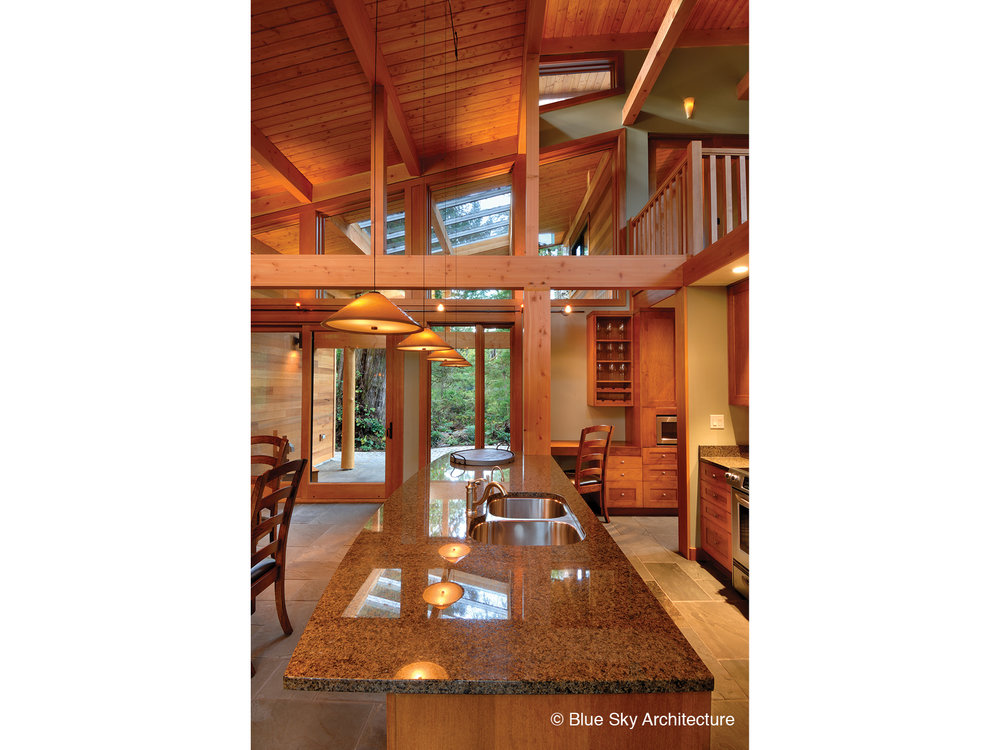 All wood organic design of Rainforest House kitchen