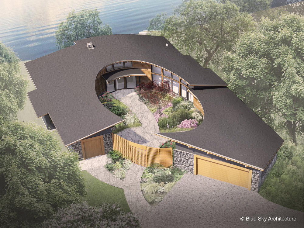 perspecitive rendering of a custom lakeshore home