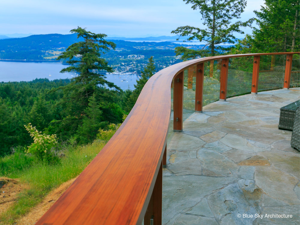 View of Curved Cedar Handrail