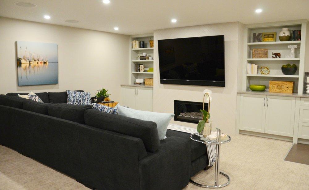 Family Friendly Basement | Marlo Creative Interiors | Calgary Interior Designer