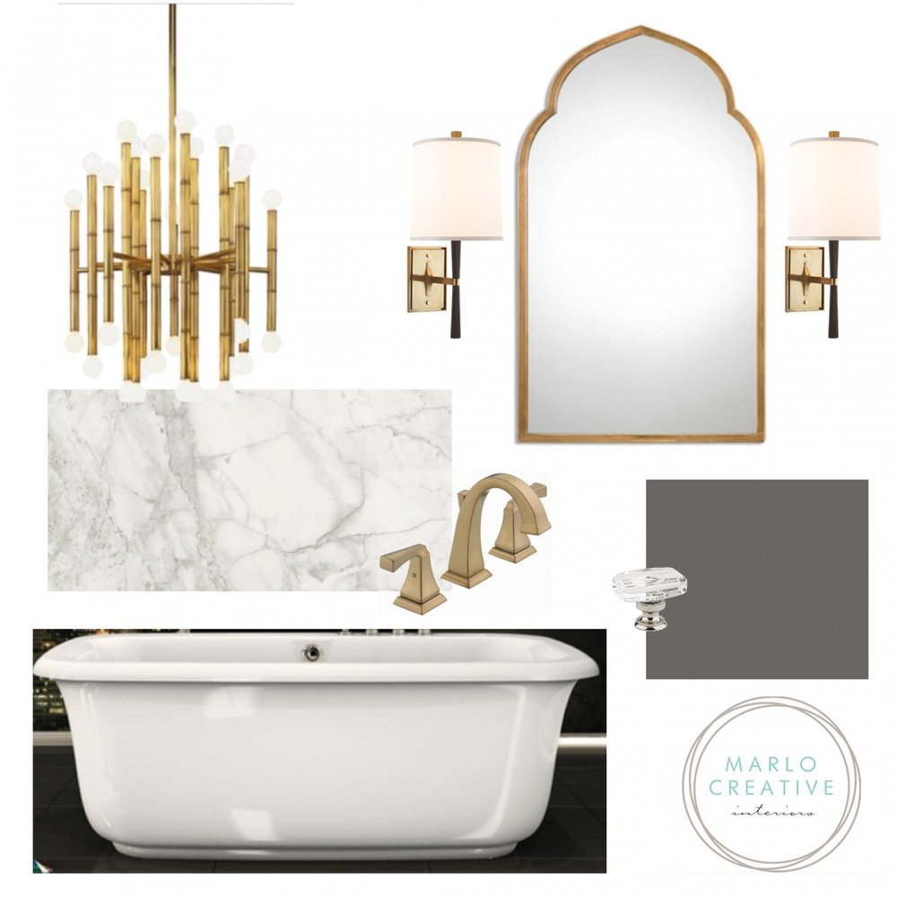 Calgary Interior Designer elegant bathroom moodboard by Marlo Creative Interiors