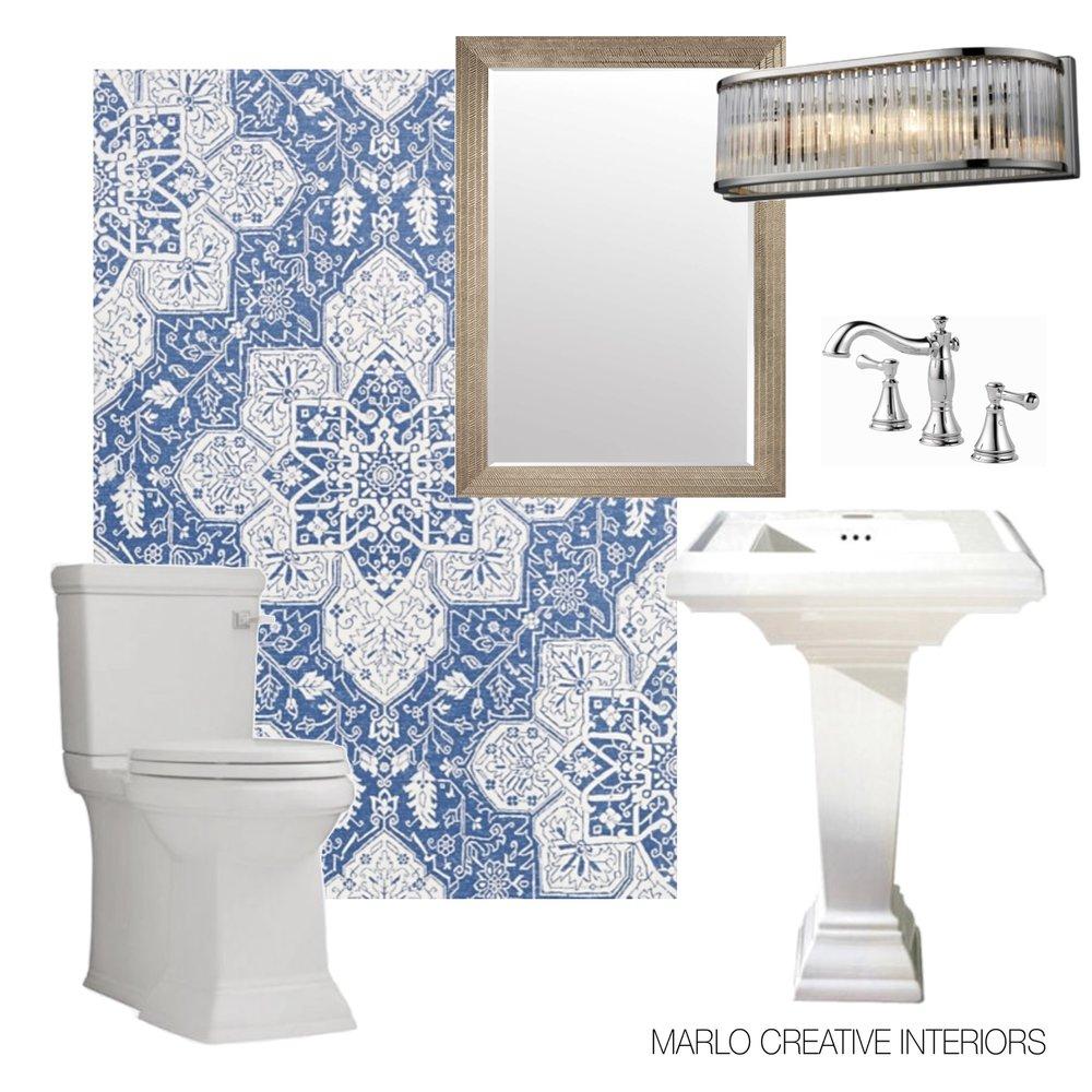Sources: Wallpaper: Thibaut / Mirror: Wayfair / Faucet: Delta / Lighting: Elk Lighting